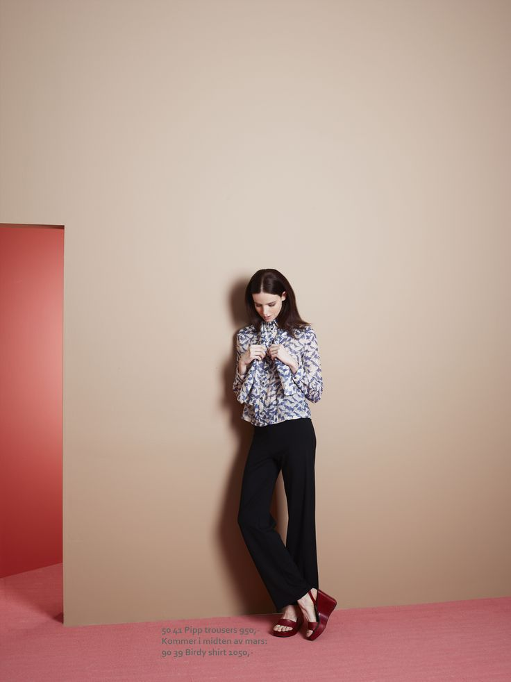 Birdy shirt and scarf with jersey trousers from Summer 2016 collection. www.mettemoller.no Photo: Siren Lauvdal Styling: Pauline Nærholm