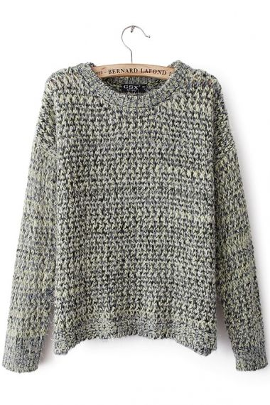 Round Collar Colour Mixture Sweater