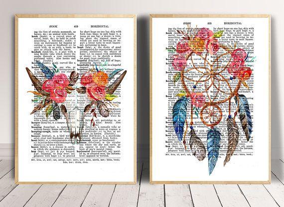 Printable art Set of 2 prints Dictionary print Bohemian decor