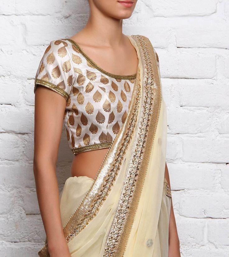#Off-White Jacquard #Brocade #Blouse by #Divya #Kanakia at #Indianroots
