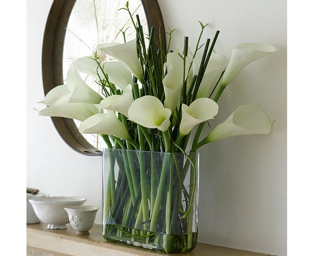 Dramatic, contemporary and very stylish, our calla lilies are in timeless classic white. Beautifully detailed for absolute authenticity, the graceful flowers and