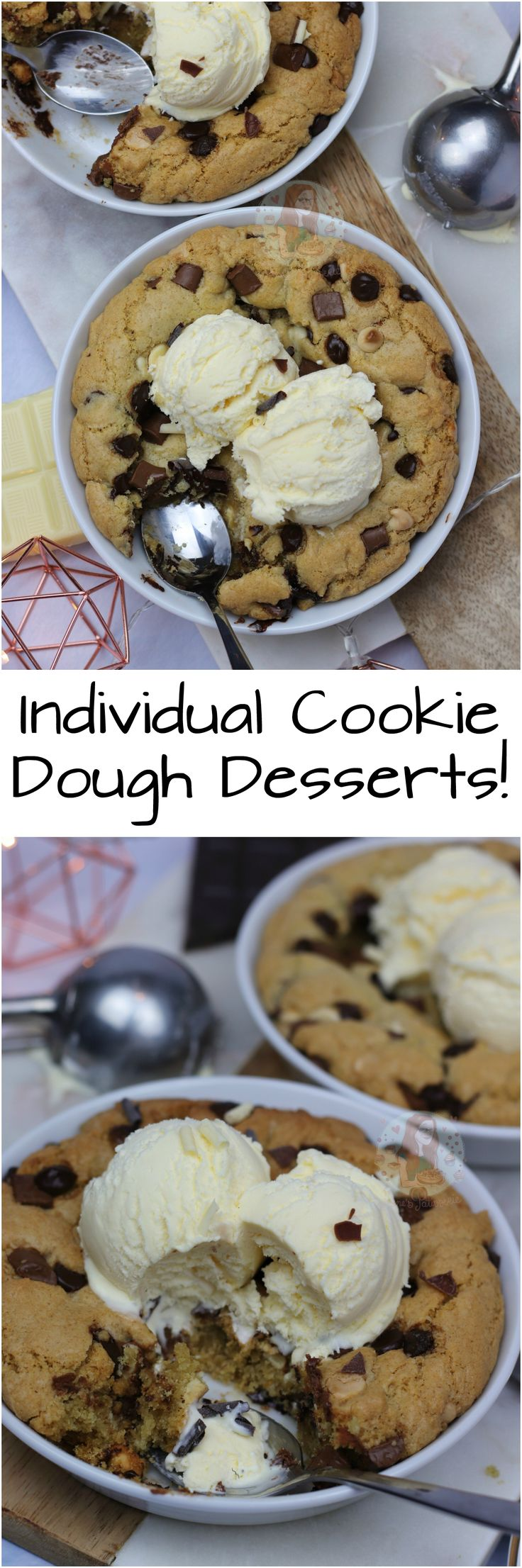 Individual Cookie Dough Desserts!! A Delicious Chocolatey Recipe for Two Individual Cookie Dough Desserts – just like the Pizza Hut one!