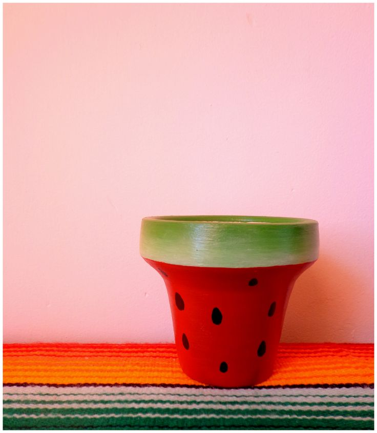 Painted pot watermelon inspired