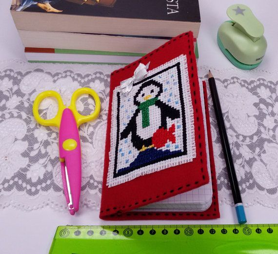 Pocket notebook with cross stitch penguin red by Rocreanique on Etsy