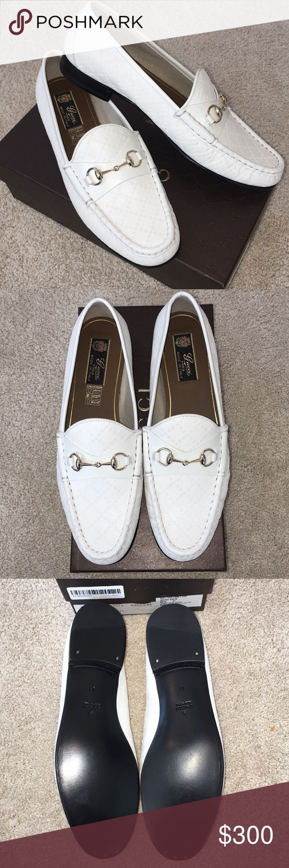 New Gucci White horse bit loafers NWT white Gucci loafers. Perfect condition. Just a half size too big on me and can't return. Perfect for spring and summer! Reasonable offers considered! Gucci Shoes Flats & Loafers