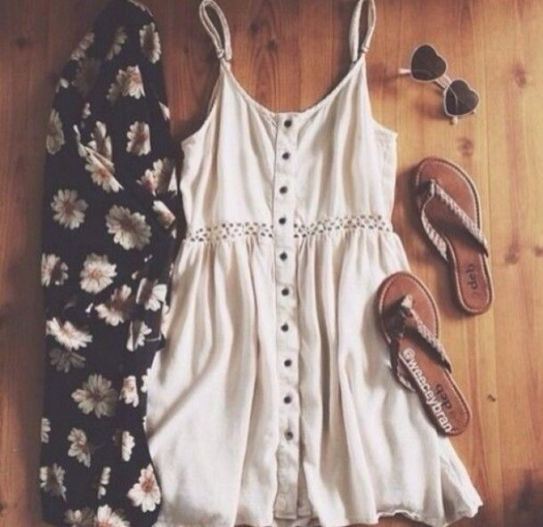 dress sunglasses shoes creamdress summer outfits spring style cardigan white dress cut-out dress summer dress summer outfits dress kimono sandals cream short hipster boho buttons floral clothes tumblr outfit floral heart