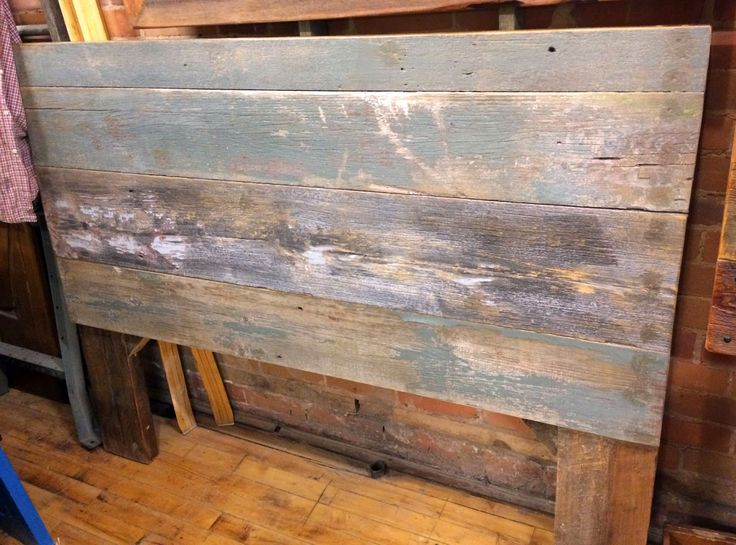Rustic, reclaimed wood barn board headboard