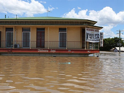 Melbourne hotel is underwater in Bundaberg, Queensland, 29 January, 2013.