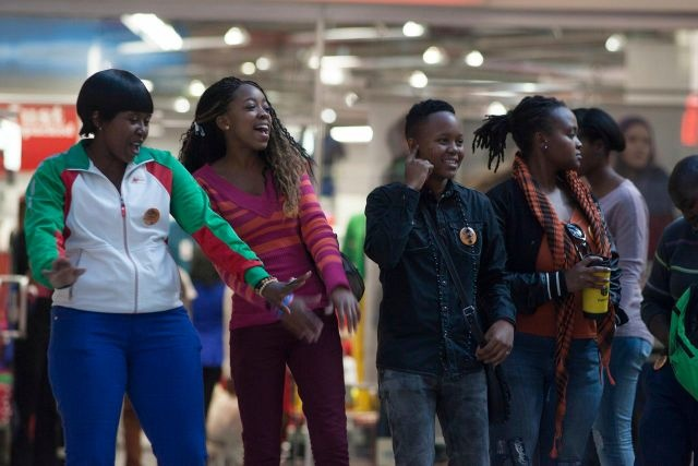 IDAHOT 2013, Johannesburg. Dimakatso, Tebogo, Siphiwe and Nelly of Uthingo – The Rainbow dancing opposite the flashmob.
