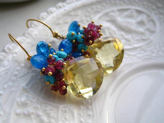 Lemon Quartz gemstone earrings-Tropical Punch
