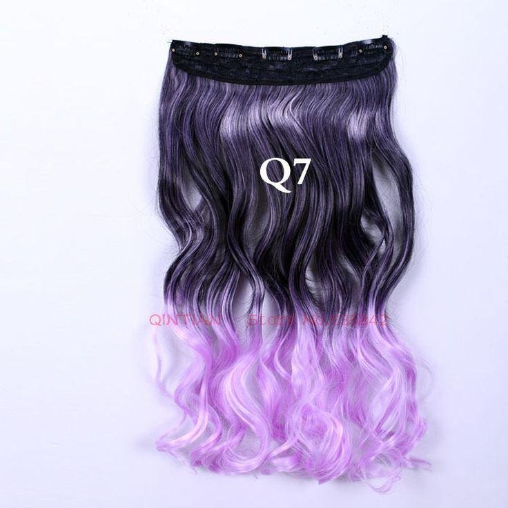 Синтетические наращивание волос клип в скручиваемость волнистые 24 дюйм(ов) 60 см Q7 светло-фиолетовый ломбер 5 зажим(ов) градиент рампы цвет шиньоны нарезать