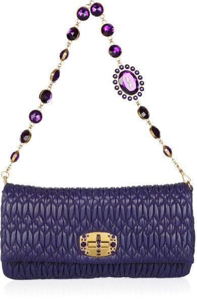 d7a2f3c84d2a Miu Miu Crystal Chain Strap Matelassé Leather Shoulder Bag in Purple ...