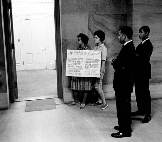 John Lewis, second from right, and others tried to see Tennessee Gov. Buford Ellington, but he left his office by a side door. The young activists, including Lewis, Diane Nash, Bernard Lafayette, James Bevel, Marion Barry and others, were trained in the Ghandian nonviolence workshops led by Rev. James Lawson, who was welcomed into the Nashville community in 1958, by other like minded ministers such as Kelly Miller Smith and C. T. Vivian, Sept 8, 1961  Photo credit: Jimmy Ellis / The…