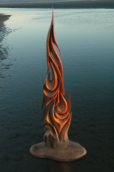 """free form sculpture from Jeff """"Jeffro"""" Uitto, works with drift wood"""
