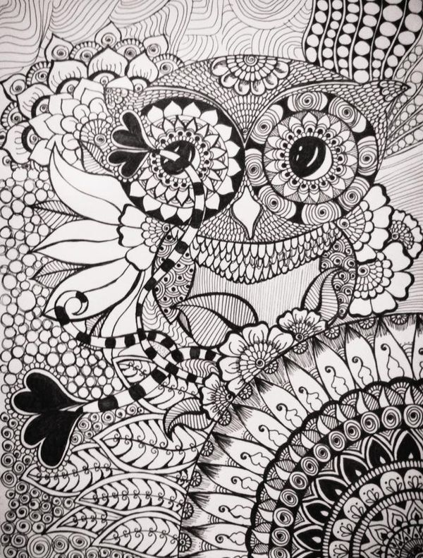 252 Best Adult Coloring Owl Images On Pinterest