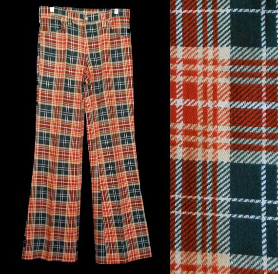 Vintage 60s Men's Plaid Pants, 1960s Wool Blend Trousers, Waist 30 Inches, 35 1/2 Inch Inseam, Size Medium
