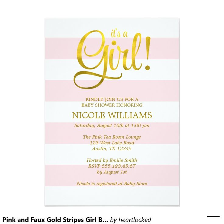 75 best Pink and Gold Baby Shower Ideas images on Pinterest Gold - baby shower invitation letter