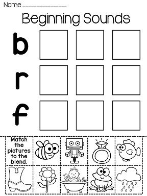 Matching beginning sounds worksheets kindergarten