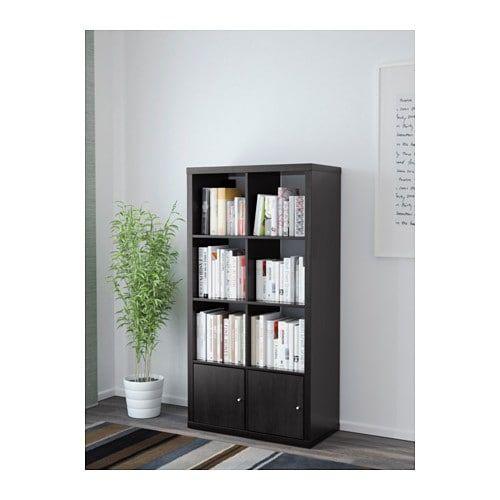 Ikea Expedit Boekenkast Zwart Bruin.Kallax Open Kast Met Deuren Zwartbruin Slaapkamer Kallax Open