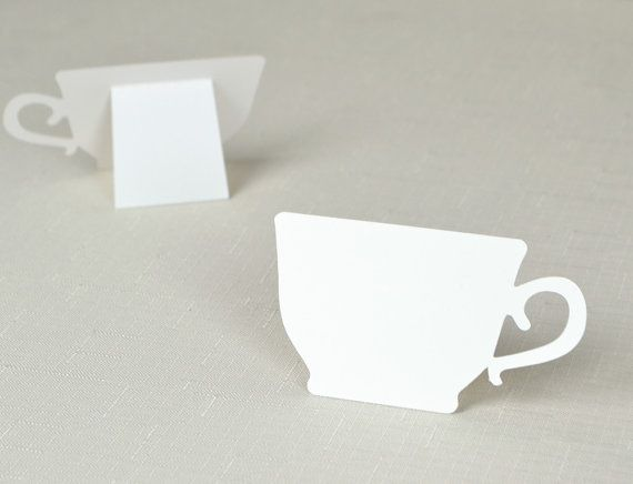 Tea Cup shaped Place cards Wedding bridal baby shower  Party seating  table number name Tented Escort Card