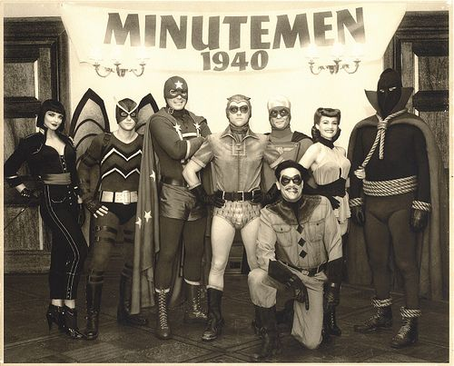 minutemen circa 1940 Silhouette, Mothman, Captain Metropolis, Dollar Bill, Nite Owl,The Comedian, Silk Spectre and Hooded Justice (before the Watchmen)