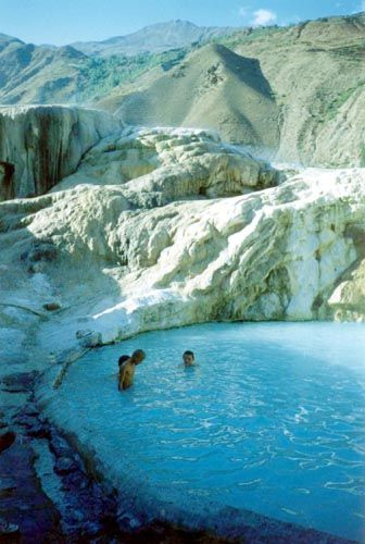 Swim in the hot springs in the middle of nowhere, outside Khorog, the Pamir Mountains, Tajikistan. The town of Khorog is the capital of the Gorno-Badakhshan Autonomous Province in Tajikistan.