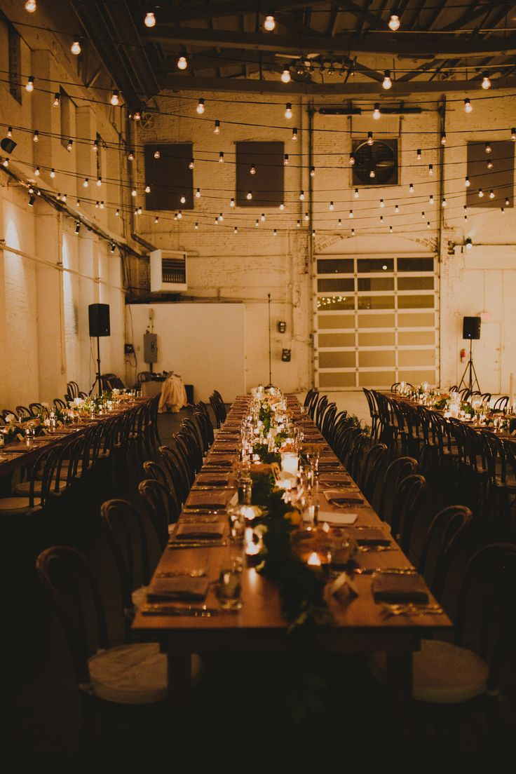 Intimate warm Community wood farm table seating reception dinner Parlay Studios New Jersey NJ Indie Hip Non Traditional Wedding Photographer Brooklyn NYC New York Chellise Michael Photography Top Wedding Photographer