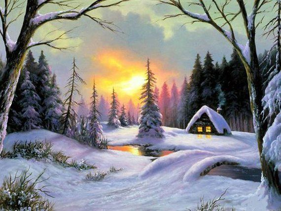 Winter.sunset art.sunset .landscape oil painting.landscape.house in the woods.wood house.forest.winter trees