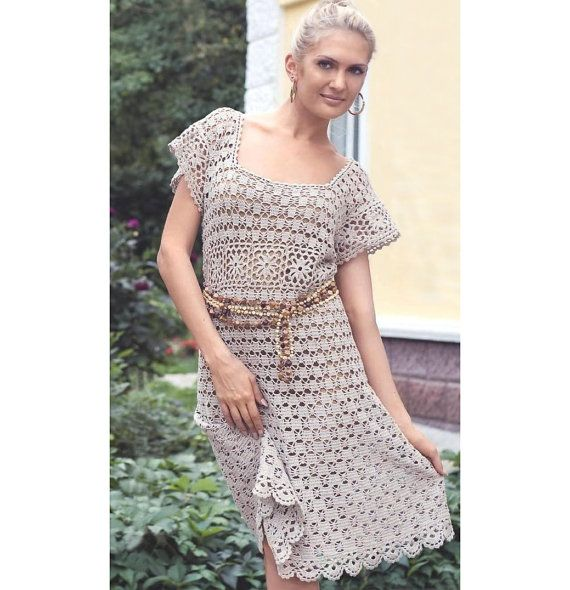 Crochet dress PATTERN, crochet tunic pattern, crochet beach dress pattern, crochet boho dress pattern, detailed description in English.