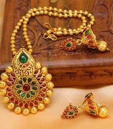 Buy Multicolor gold plated agate necklace set south-indian-jewellery online at, http://www.mirraw.com/designers/urshi-collections/designs/multicolor-gold-plated-agate-necklace-set-south-indian-jewellery--9