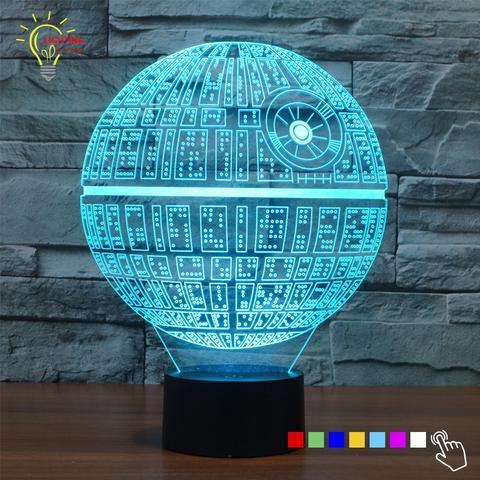 Hologram 3D Night Light Star Wars Death Star LED Lighting Gadget Table Lamp