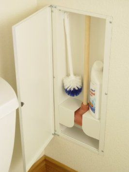 LOVE THIS - put the nasty stuff away by itself!  $39 Sanitary Toilet Plunger Recessed in wall Storage