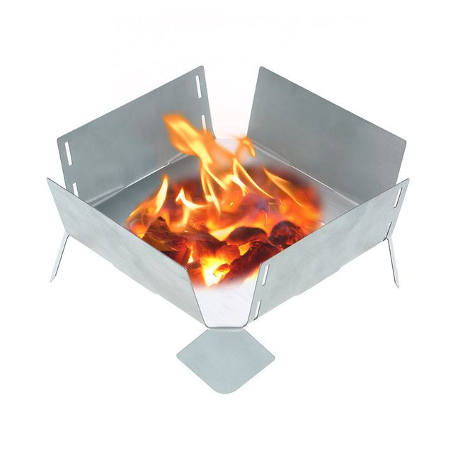 NEW Outdoor Foldable Pot Holder Plate with Tray Solid Fuel Alcohol Stove Portable Stainless Steel Burnersly Camping Cooker Stove