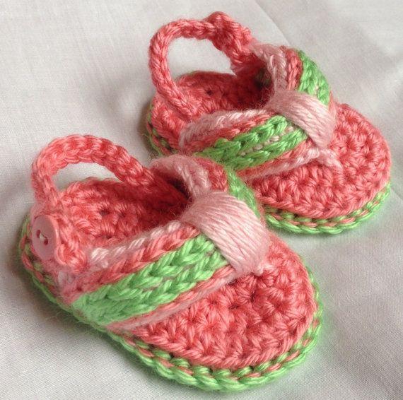 Crochet Baby Flip Flops Newborn Shoes  Baby by HookYarnAndHooper