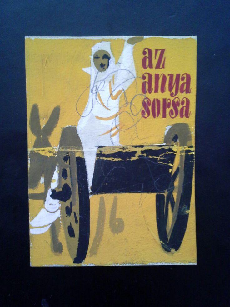 Vajda Lajos (1922 - 2008) Könyv illusztráció reklám terve. Tempera,papír.  Mihály Gyűjtemény