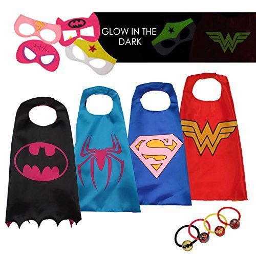 4 Superhero Capes For Kids - Super Hero Toys & Costumes Birthday Party Supplies - Prepare For Superhero Lovers Play Sessions With This Costume Set Say hello to the most glorious superhero squad to ever grace the market! You are about to get FOUR superhero costumes, ensuring your little one never tires rotating between his or her favorite DC characters. BEAUTY & SAFETY IN DETAI...