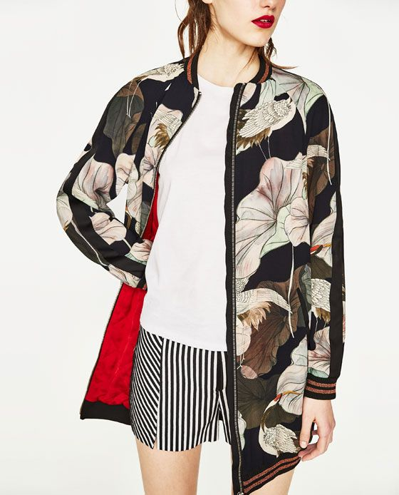Image 3 of OVERSIZED PRINTED BOMBER JACKET from Zara