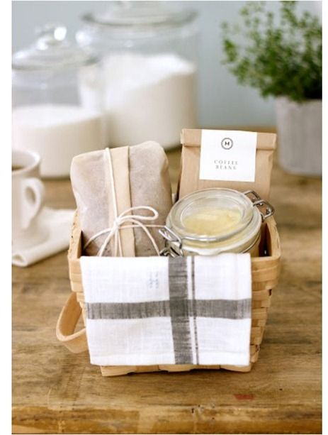 Greet Mom in the morning with some gourmet coffee beans, honey butter, and baked banana bread, wrapped up in pretty packages.