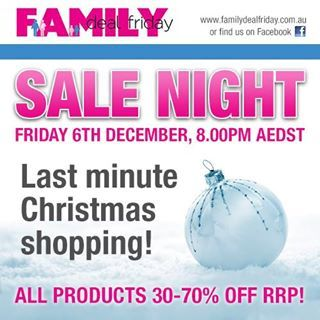 We are excited to be participating in the Family Deal Friday MASSIVE Sale Night on Friday 6th December at 8.00pm AEDST. It is going to be MASSIVE!  Check out our sale at http://destinationgreen.com.au/#/our-productsshop/4570352368/Family-Deal-Friday-Sale
