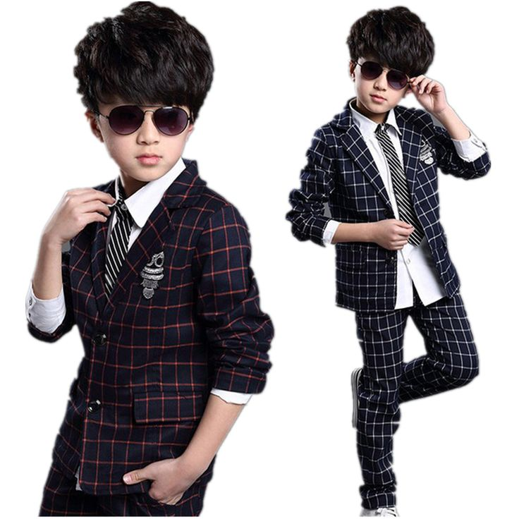 New Kids Plaid School Suit for Boys England Style Boys Formal Wedding Blazer Suit Boys Performance Suit Party Tuxedos H145 #Affiliate