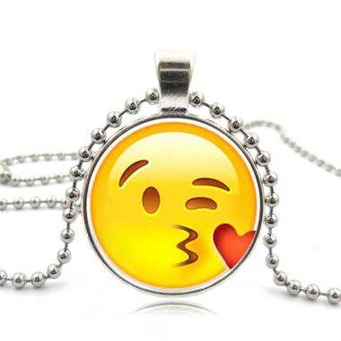 Winking Kissy Face Emoji Necklace