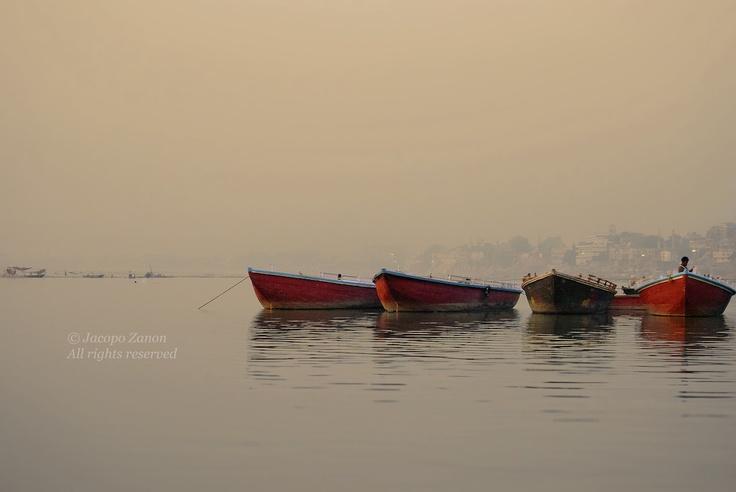 Boats docked in Varanasi