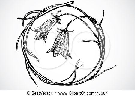 Bell flower wreath. Blue bells symbolize gratitude.