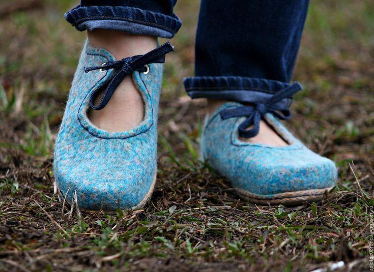 """Купить Туфли валяные """"Nothing more"""". - голубой, туфли, туфли женские, туфли ручной работы"""
