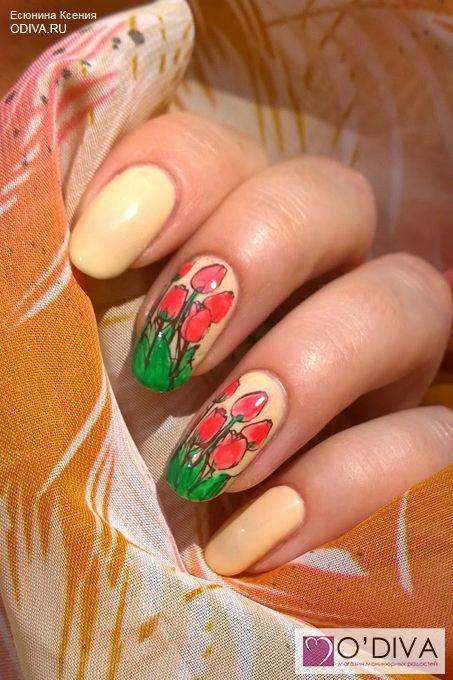 Витражный стэмпинг с тюльпанами. Ксения Есюнина. http://odiva.ru/~43iys  #konad #конад #стемпинг #stemping #stamping #рисункинаногтях  #дизайнногтей #ногти #идеиманикюра #маникюр