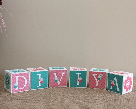 Custom Baby Name Blocks, Butterfly Nursery Decor, Personalise Baby Blocks, New Baby Shower Gift, Name Letter Blocks, 3x3x3 Wooden Blocks