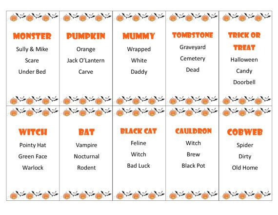 Printable Halloween Taboo Game Cards by PamsPartyPrintables. Great game for your home or classroom Halloween party.