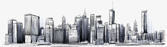 Hand Painted City Skyline Vector Material City Clipart Contour City Png And Vector With Transparent Background For Free Download City Skyline Skyline City