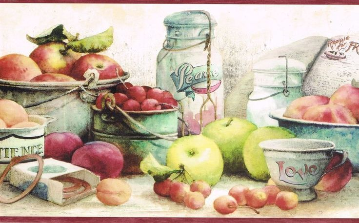 country kitchen apples pears cheeeries preseving time on border wall id=26617