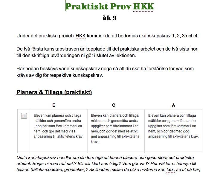 Hem- och konsumentkunskap på Runan: Praktiskt prov åk 9